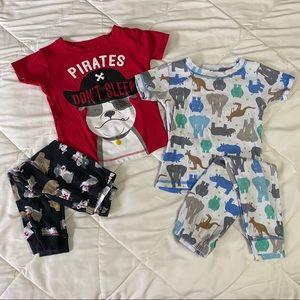 Lot of 2 • Carter's 2T Pajamas animals pirate dog